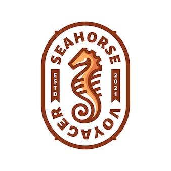 Emblema do logotipo do seahorse em esboço