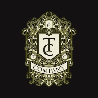 Emblema do logotipo do tc com letra vintage