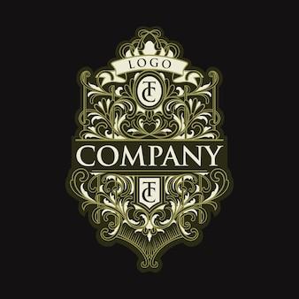 Emblema do logotipo do tc com letra vintage