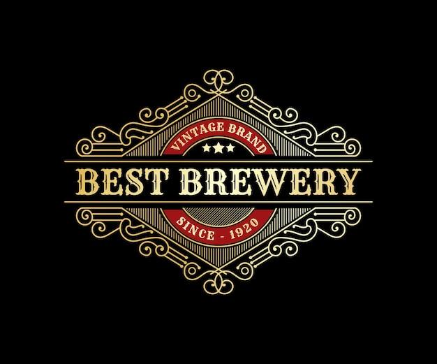 Emblema do logotipo vintage de luxo real para marcas de uísque e bebidas alcoólicas de cervejarias artesanais
