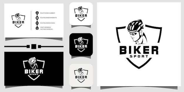 Emblema do modelo de design de logotipo de motociclista