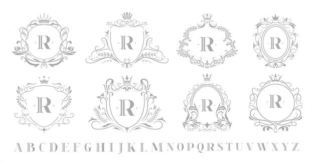 Emblema do monograma vintage. emblemas de luxo ornamental de arte retrô, coroa de monogramas de coroa real e conjunto de ilustração de quadro de redemoinhos de casamento