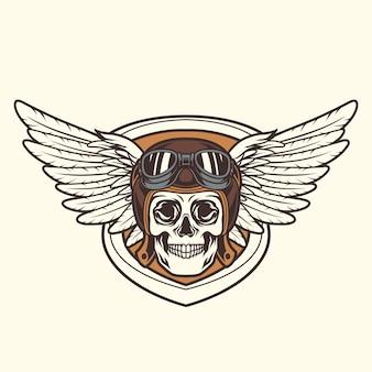 Emblema do motociclista caveira