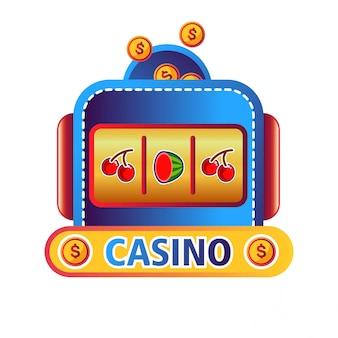 Emblema do promo do serviço online do casino com máquina de fruta
