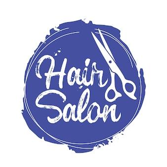Emblema do salão de cabeleireiro com tesoura no círculo azul grunge, ícone ou logotipo de serviço de beleza, etiqueta isolada para barbearia