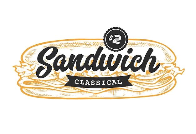 Emblema do sanduíche. modelo de logotipo com letras pretas e esboço de sanduíche amarelo.