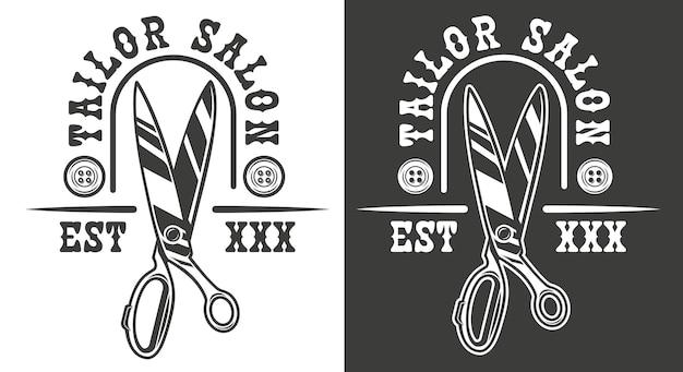 Emblema do vetor no tema do salão de costura com uma tesoura de alfaiate. o texto está em um grupo separado