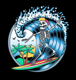 Emblema do vintage com esqueleto surfista.