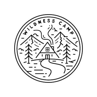Emblema do vintage de monoline do acampamento do wildness
