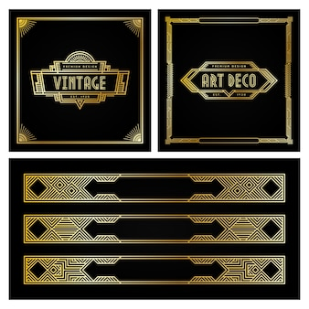 Emblema e moldura de estilo art deco do vintage