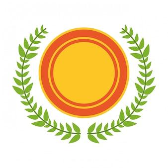 Emblema emblema com folhas de coroa de flores