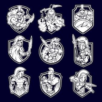Emblema espartano do logotipo da mascote do guerreiro