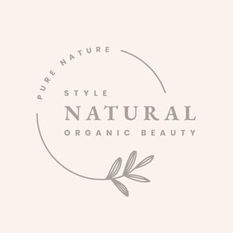 Emblema estético modelo de logotipo empresarial, vetor de design de marca natural