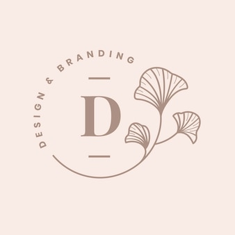 Emblema estético modelo de logotipo empresarial, vetor de marca da empresa de design criativo