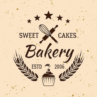 Emblema, etiqueta, crachá ou logotipo de vetor vintage de padaria e doces em fundo de cor clara