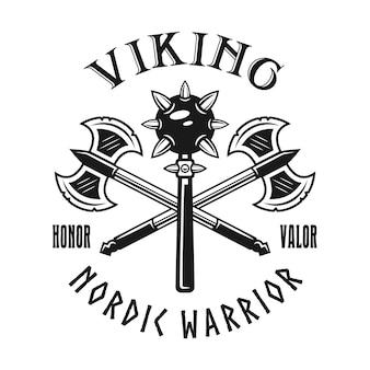 Emblema, etiqueta, distintivo, logotipo ou t-shirt de vetor de armas vikings impressão em estilo monocromático isolado no fundo branco