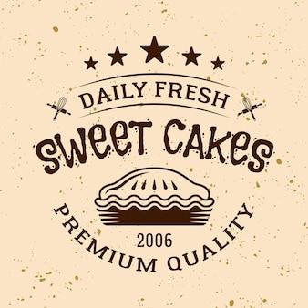 Emblema, etiqueta, distintivo ou logotipo de vetor vintage de padaria com torta em fundo de cor clara
