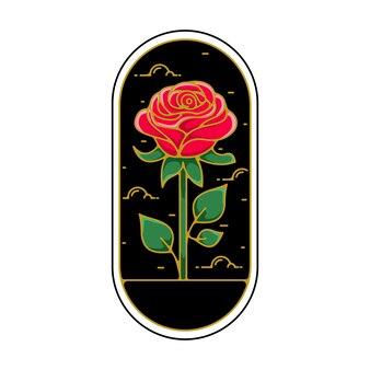 Emblema flor rosa monoline Vetor Premium