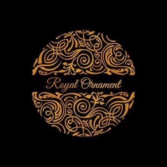 Emblema floral caligráfico dourado redondo