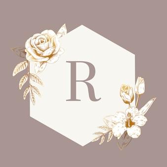 Emblema floral vintage