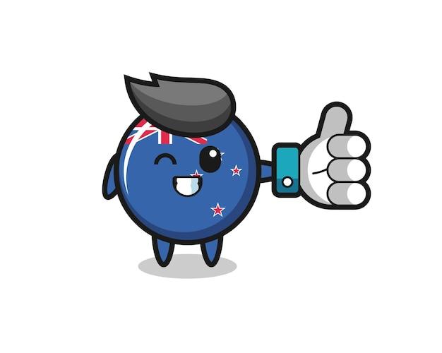 Emblema fofo da bandeira da nova zelândia com símbolo de polegar para cima de mídia social, design de estilo fofo para camiseta, adesivo, elemento de logotipo