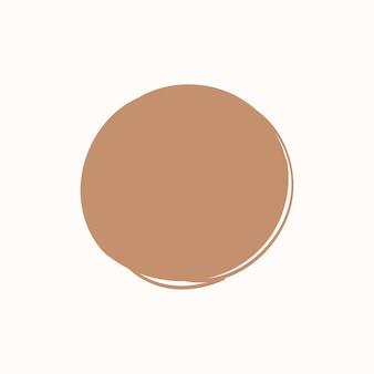 Emblema fofo doodle redondo em bronze