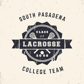 Emblema grunge vintage da equipe de lacrosse da faculdade