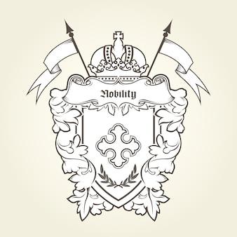 Emblema heráldico - brasão real com símbolos imperiais, escudo e coroa