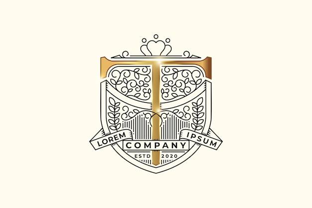 Emblema heráldico de luxo com modelo de design de logotipo inicial com a letra t