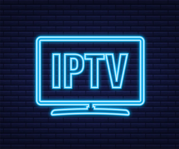 Emblema iptv, ícone, logotipo. ícone de néon. ilustração em vetor das ações.