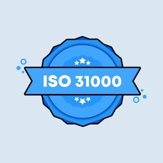 Emblema iso 31000. vetor. ícone de carimbo do certificado padrão iso 31000. logotipo do crachá certificado. modelo de carimbo. etiqueta, etiqueta, ícones. vetor eps 10. isolado no fundo