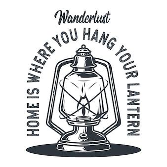 Emblema lâmpada de querosene de acampamento selvagem lanterna de parafina