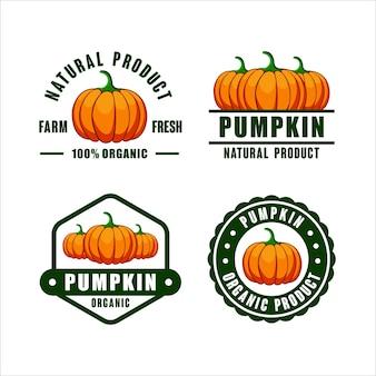 Emblema logotipo de produto orgânico de abóbora