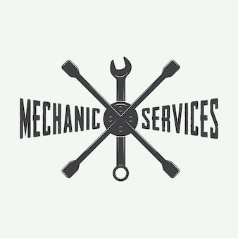 Emblema mecânico e logotipo.