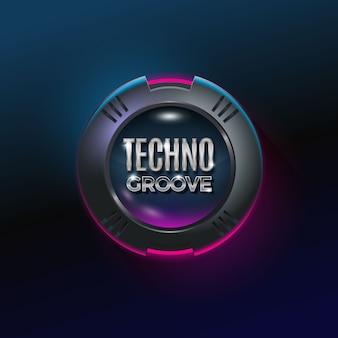 Emblema metálico do círculo de techno