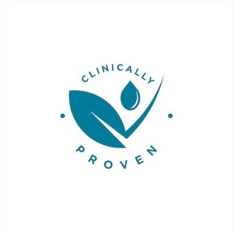 Emblema moderno simples com clinicamente comprovado