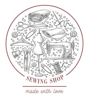 Emblema monocromático de loja de costura do vetor de ateliê