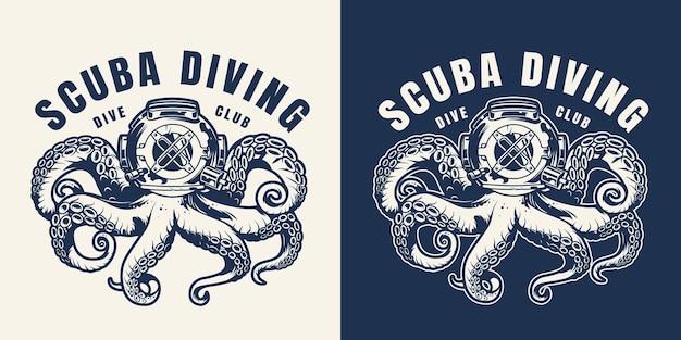 Emblema monocromático de mergulho vintage com polvo no capacete de mergulhador isolado