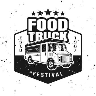 Emblema monocromático, distintivo, etiqueta, adesivo ou logotipo de vetor de food truck em estilo vintage isolado no fundo branco com texturas removíveis