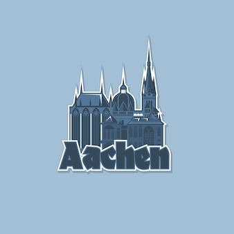 Emblema monocromático, íman da cidade de aachen. Vetor Premium