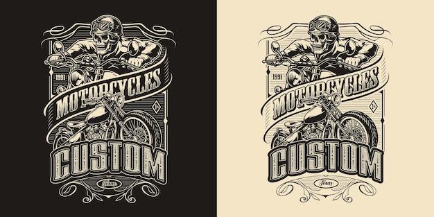 Emblema monocromático vintage de motocicleta personalizada com motocicleta clássica e motociclista de esqueleto.