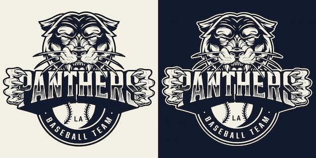 Emblema monocromático vintage de time de beisebol