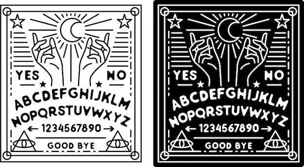 Emblema monoline board ouija, com cores preto e branco