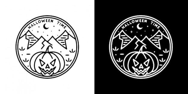 Emblema monoline da hora do dia das bruxas