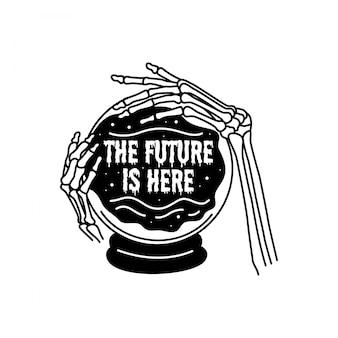 Emblema monoline do caixa futuro