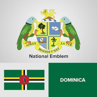 Emblema nacional de dominica e bandeira
