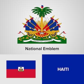 Emblema nacional do haiti e bandeira