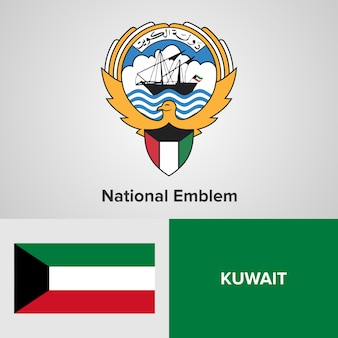 Emblema nacional do kuwait e bandeira