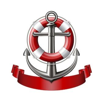 Emblema náutica com uma âncora, bóia salva-vidas e fita vermelha