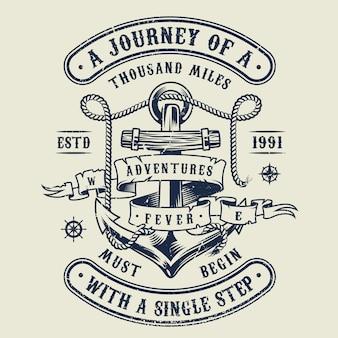 Emblema náutica monocromática vintage